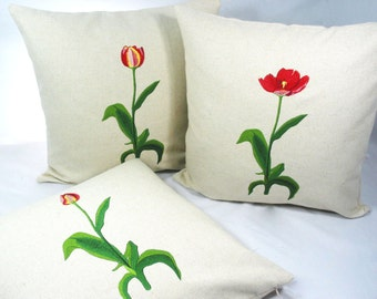 Tulipa ~ Pure Linnen ~ floral embroidery ~ 3 flowering stages ~ cushion cover~ pillow cover~ Off White~ Green ~ Red~ Yellow~ flowers~ garden