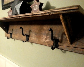 Re Claimed Barn Wood Wall Shelf with Hangers