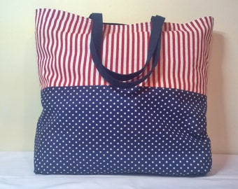 CLEARANCE...SALE...Patriotic Tote Bag, Tote Bag, Handmade Tote Bag, Lined Tote Bag, Carry All Bag, Beach Bag, Large Tote Bag, Fabric Tote