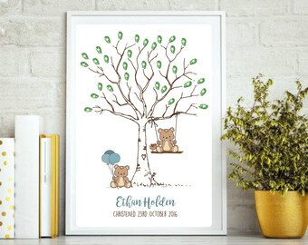 Baby Bear Tree Print Birthday or Christening