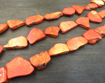 "Orange Turquoise Howlite Slice Beads Free Form Howlite Slice beads Howlite Slice Slab Through Drilled Loose Beads supplies 15.5"" full strand"