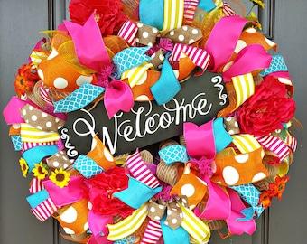Summer Wreath - Summer Deco Mesh Wreath - Pink Orange Yellow Summer Wreath - Front door Wreath