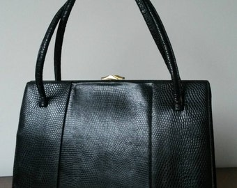 Black Lizard Skin Waldybag, With Suede Lining