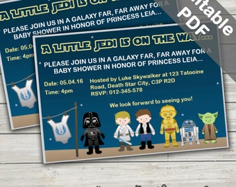 Star Wars Baby Shower Invitations. Editable/Printable. Instant Download.