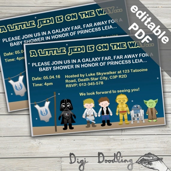 star wars baby shower invitations editable printable instant