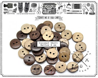 144PCS 8MM Round 2 holes COCONUT Shell Buttons wooden sewing buttons