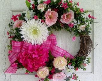 Pink Hydrangea Wreath, Gerbera Daisy Wreath, Boxwood, Summer Wreath, Door Wreath, Salmon Poppies, Cabbage Rose, Monogram