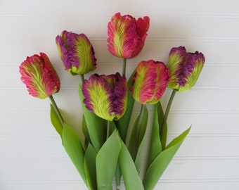 Tulips, Pink Tulips, Purple Tulips, Spring, DIY Floral Arrangement, Flowers for Centerpiece, Silk Tulips