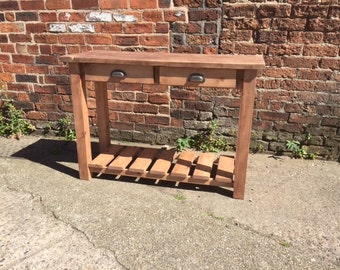 Reclaimed chunky wood med oak console table. Made to measure bespoke, Hall side with 2 drawers & stained base. Farmhouse, shabby chic rustic
