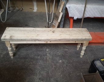 Reclaimed wood farmhouse style bench, dining table, painted, pine, restaurant, kitchen, made to measure, custom, seating, shabby chic bench