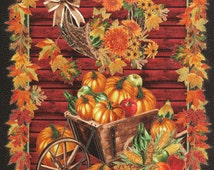 Fall Harvest Panel-Timeless Treasures-metallic quilting fabric