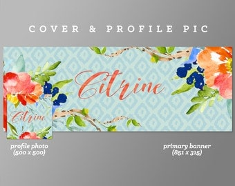Timeline Cover + Profile Picture 'Citrine' Cover, Profile Picture, Branding, Web Banner, Blog Header | red hot, floral red, wreath, flowers