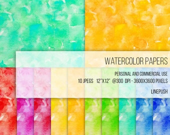 SALE! Watercolor Papers. Bright, colorful,  Digital papers. Watercolor backgrounds, Tie dye colors. Stained background. Textured paper. neon