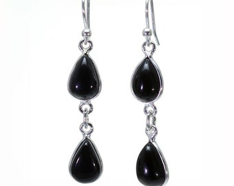 Black Onyx Earrings, 925 Sterling Silver, Unique only 1 piece available! color black, weight 3.1g, #24557