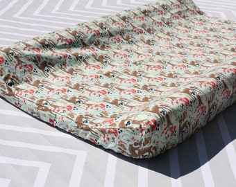 Aqua Woodland Changing Pad Cover - Deer - Woodland Collection