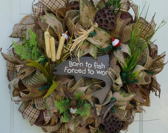 Fishing mesh wreath, camping mesh wreath/Father's/Mother's/decorative mesh wreath/Made to Order