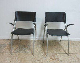 Pair Calligaris Leather Atomic Floating Arm Chairs E