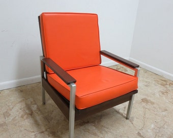 Vintage Mid Century Aluminum Walnut Orange Vinyl Lounge Arm Chair