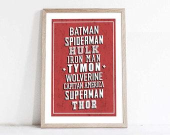 Superhero,personalized poster for boy,Decor,Wall Art,superhero poster,kids room decor,nursery print,Childrens prins,poster with name kids
