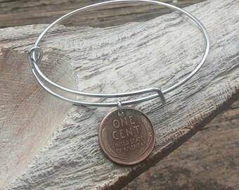 Coin bracelet - penny bracelet -  Adjustable bangle bracelet - wheat penny coin jewelry - lucky penny bracelet - Vintage coin jewelry -