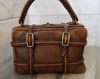 Vintage handbags, Italian leather handbag, vintage Meier & Frank handbag, Italian leather, brown leather handbag, leather purse