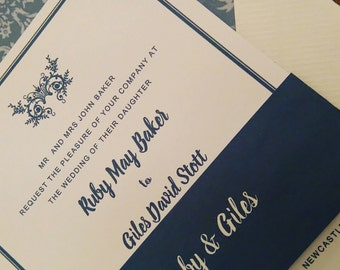 Wedding invitations, romantic fonts with belly band and RSVP