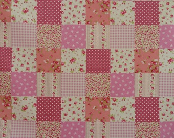 Pink Patchwork Design Fabric - 100% Cotton Poplin.  For Quilting, Dressmaking, Soft Furnishings, Crafts.