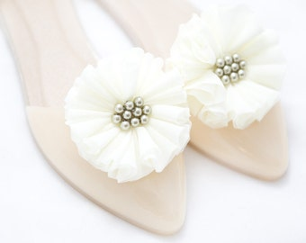 Creamy Flowers  Shoe Clips Pearls  Shoe Accessories Wedding Accessories Mififi