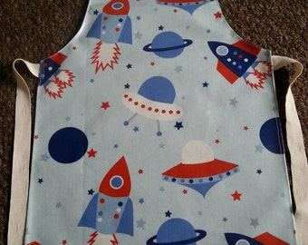 Child's Wipeable Blue Rocket/Space Oilcloth Apron