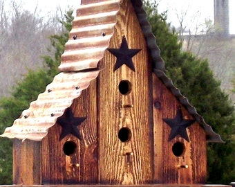 Large Burnt Cedar Barn Style Bird House Re-purposed wood Corrugated rusty tin Roof Blue Bird Wren House