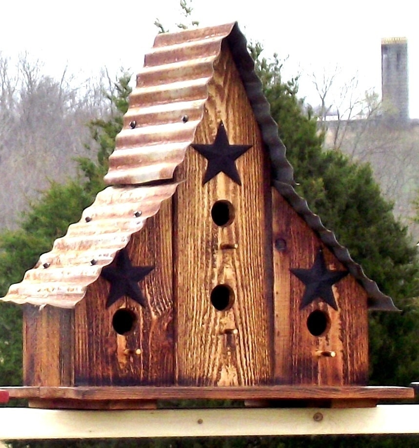 Large Burnt Cedar Barn Style Bird House Re Purposed Wood