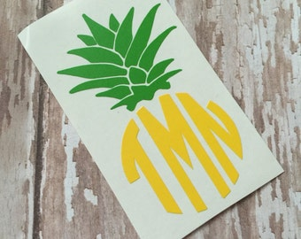 Pineapple Monogram | Monogrammed Pineapple | Pineapple Car Decal |