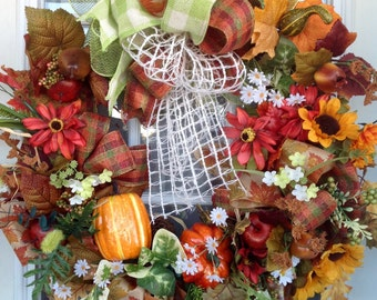 Fall Colors Wreath,Thanksgiving Wreath,Autumn wreath, Thanksgiving Door Wreath,Porch Wreath,Orange color Wreath,Beautiful Ribbons Wreath