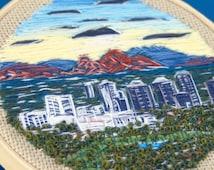 Camelback Sunrise | Embroidery Art Cityscape Modern Home Decor Hand Stitched Landscape Embroidered Hoop Personalized Gift Arizona Skyline