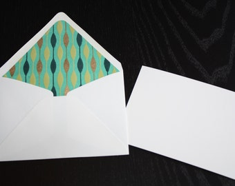 Green and Copper Lined Envelopes with Note Cards (set of 5)