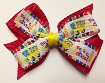 """4"""" back to school bus pencil red yellow rainbow crayon hair bow clip baby toddler kindergarten teen home school barrette pre 1st 2nd grade"""