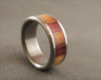 Purple heart and Olive wood combo ring, titanium and wood inlay ring, titanium ring, wedding band, exotic hardwood, olive wood, purple heart