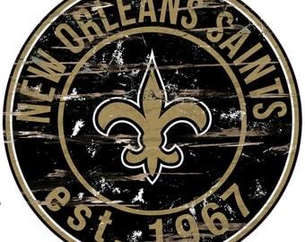 "NFL New Orleans Saints Round Distressed Established Wood Sign 24"" In Diameter"