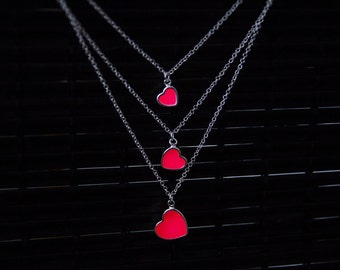 Necklace Three Red Glowing Hearts - Birthday Gift - Glow Jewelry - GLOW in the DARK - Glowing Pendant - Glowing Red Hearts - Love Necklace
