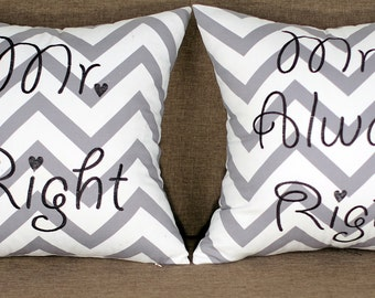 Mr and Mrs Right ZigZag  Set of 2 Embroidered Pillow/Cushion Cover Wedding Gift Newly Couple Gift Anniversary Gift He and She Gift Love Gift