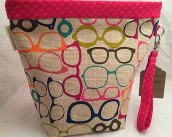 Knitting Project Bag, Crochet Project Bag_Trendy Glasses