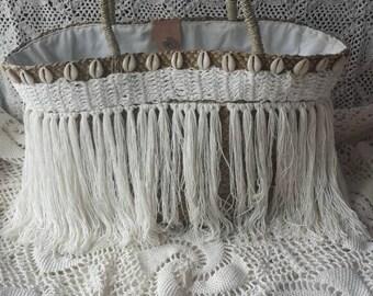Raffia tassel and shell basket, boho tassel beach basket with lining