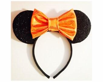 Minnie Mouse Sparkle Ears, Mickey Mouse Sparkle Ears, Mickey Minnie Party Ears, Orange Bow, Halloween Mickey Minnie Ears