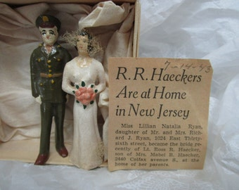 Chalkware Wedding topper Military Man and Wife Dates 1943 (WWII)