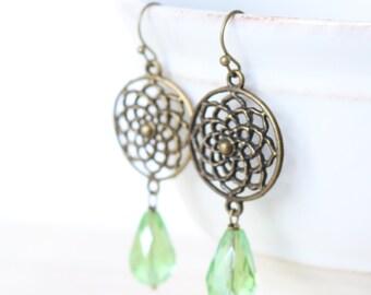 Light Green Flower Earrings - Bronze, Dangle, Drop, Emerald Green, Fall Fashion, Boho Style, Bohemian, Women's Fashion