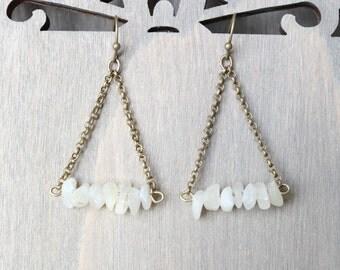 White Chips Triangle Earrings - Bronze, Boho Earrings, Bohemian Style, Gemstones