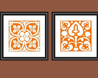 Orange Wall Art mosaic wall art | etsy