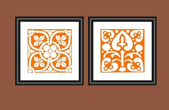 Kitchen Wall Decor Orange : Tile art print orange mosaic wall kitchen decor