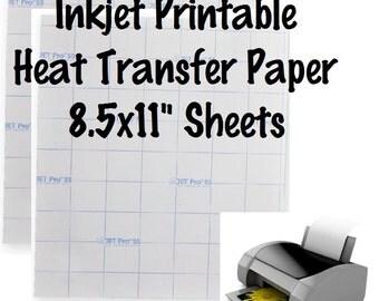 """1 Sheet Inkjet Printable HTV Jet-Pro SS Printable Heat Transfer Paper 8.5x11"""" Sheets Light Fabric Printable HTV"""