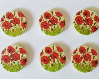 Wooden Poppy Buttons x 6